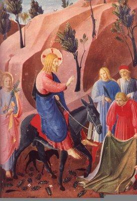 De menigte die Jezus inhaalde in Jeruzalem - hier weergegeven door Fra Angelico - was korte tijd later de meute die om zijn dood riep.