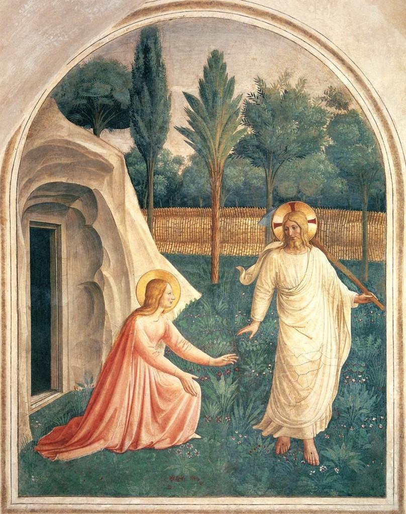 Maria Magdalena, 'apostel der apostelen', in de tuin, na Jezus' dood.  'Noli me tangere' zegt Jezus: houdt me niet vast (Johannes 20,17). (Afbeelding: Fra Angelico)