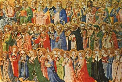 'Hert hemelse hof', met alle heiligen (onder wie Dominicus in witte habijt en zwarte mantel) bij de hemelse koning. Fra Angelico (1395-1455)