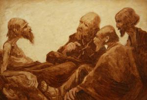 A.W. Den Beer Poortugael maakte in 1914 deze verbeelding van de vrienden die zwijgend bij Job kwamen zitten.