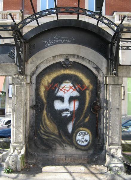 Graffiti van Jezus in Milaan