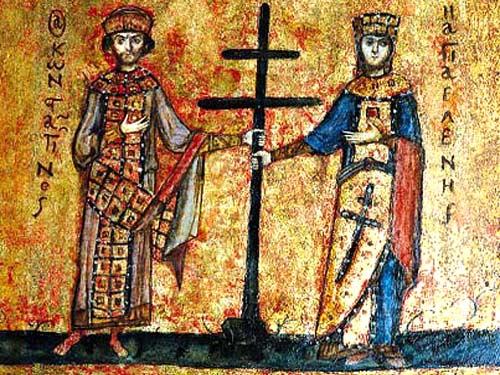 Keizer Constantijn en zijn moeder Helena met het Heilig Kruis (Byzantijns twee-armig model). Jeruzalem, Toren van David-museum.