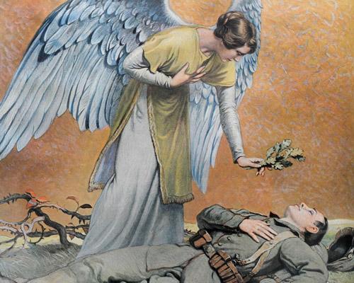Treurkaartje voor een in de Eerste Wereldoorlog omgekomen Duitse soldaat.