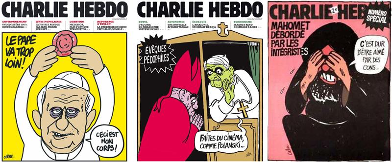 Omslagen van Charlie Hebdo: over condooms als het lichaam van Christus, pedofiele bisschoppen in de biechtstoel en Mohammed die zich schaamt voor zijn aanhangers.