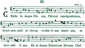 Begin van het gezongen credo (ik geloof) op basis van de geloofsbelijdenis van Nicea (325).