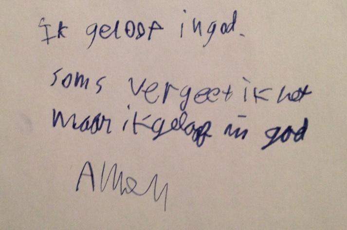 Credo van een 11-jarige, bron: weblog predikant Benedikte (PKN Bilthoven).