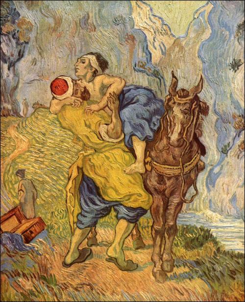 'Als ik beroofd en verwond langs de weg zou liggen, zou de sympathie van de voorbijgangers me worst wezen.' Afbeelding: De barmhartige Samaritaan van Van Gogh.