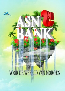 Ontwerp voor een affiche voor de ASN Bank bij een ontwerpwedstrijd voor gratis ansichtkaarten. Klik de afbeelding aan voor de bron.