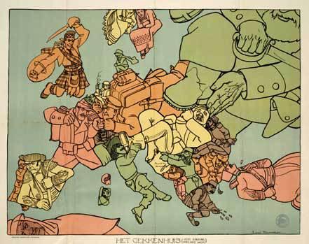 Het Gekkenhuis - kaart van Europa in 1914.