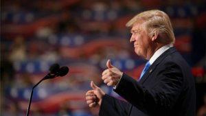 De republikeinse kandidaat Donald Trump tijdens de al even rumoerig verlopen republikeinse conventie.